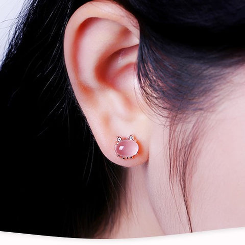 Pink Cute Little Cat Stud Earrings
