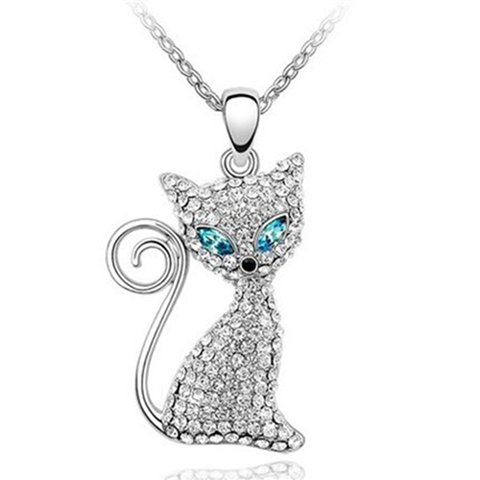Austrian Crystal Cat Alloy Pendant Necklace