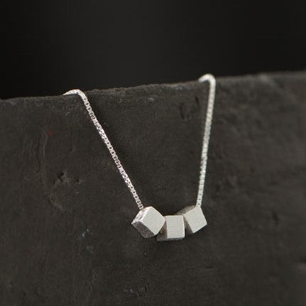 Cube Sugar Shaped Silver Necklace