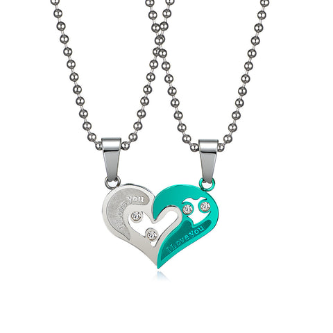"|I Love You| ""Have Mutual Affinity"" Heart Titanium Steel Lover Necklaces - Generous Love"