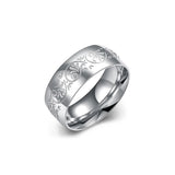 Titanium Engraving Men Men's Ring Silver