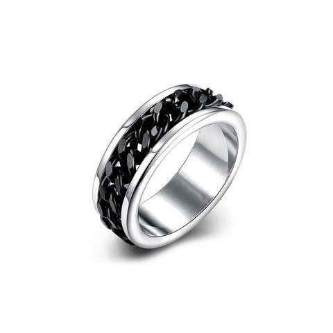 Stainless Steel Black Gems Men Men's Ring
