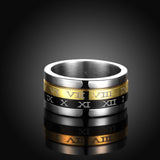 Titanium Retotable Men Men's Ring Set Roman Numerals