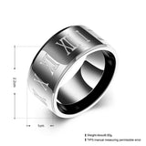 Roman Numerals Gun Black Wide Men Men's Ring