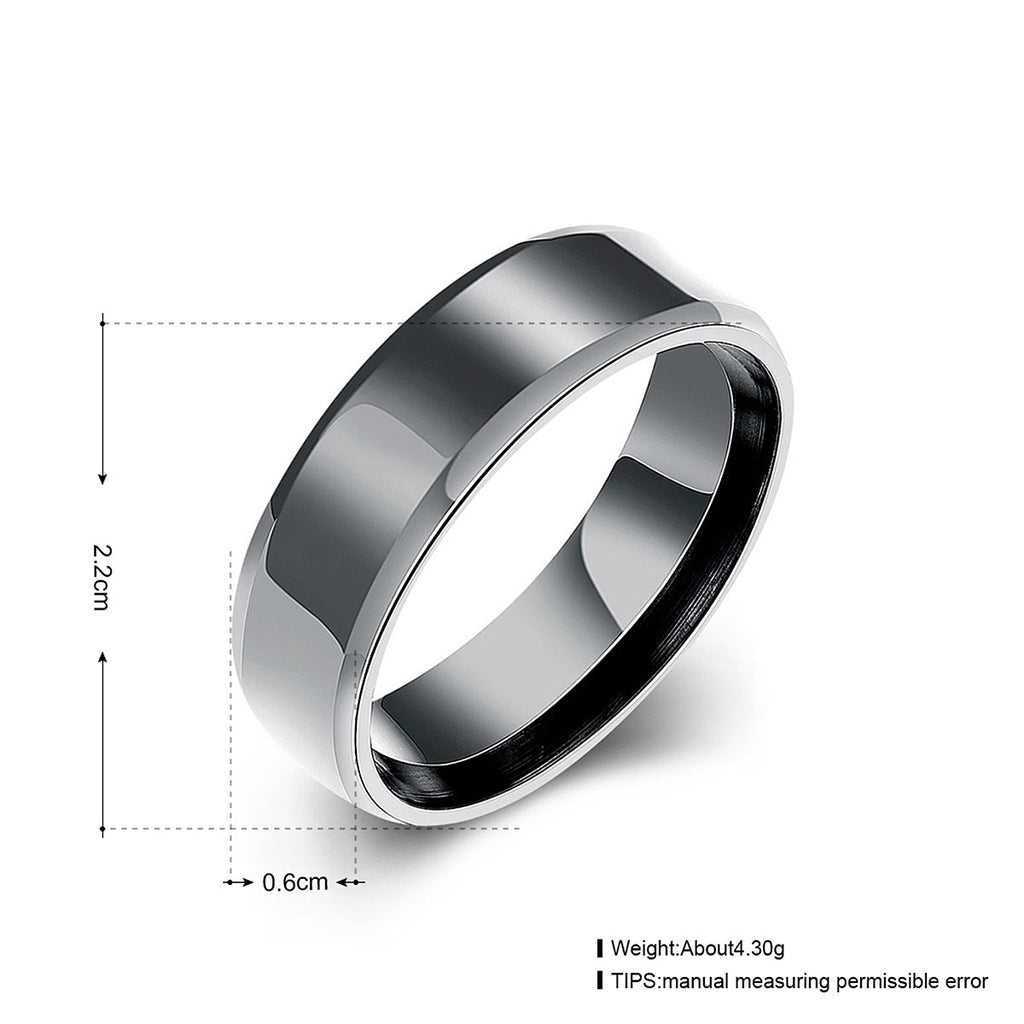 views black carbide eclipse more band polished tungsten mens titanium bands beveled wedding ring