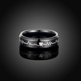Stainless Steel Men's Ring ECG Logo