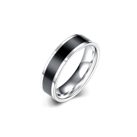 Simple Titanium Men's Ring Black Stripe