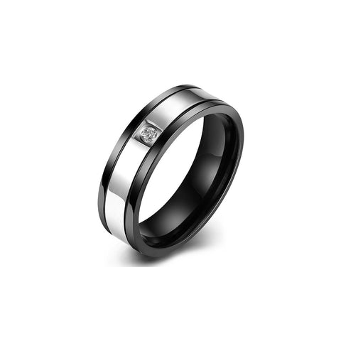 Gun Black Men's Ring Silver Stripe