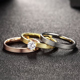 Tri-layered Grooved Ring Set Zircon
