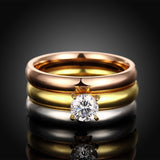 Tri-layered Shiny Ring Set Zircon