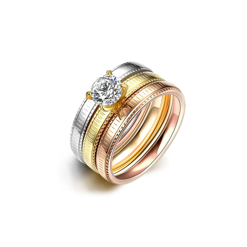 Tri-layered Vertical Stripes Ring Set Zircon