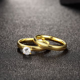 Unique Gold Zircon Ring Set Track Pattern