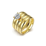 Gold Zircon Ring Set Rattan