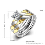 Gold Zircon Twill Ring Set Two Tone