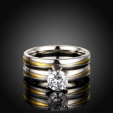 Zircon Ring Set Tow Tone Etching
