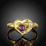 Heart-Shaped Ziron Inlaid Statement Ring