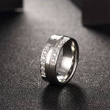Simple Titanium Men's Ring Silver