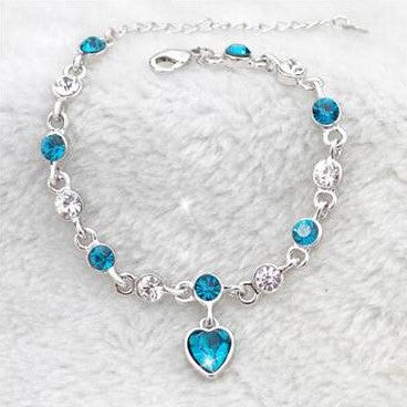 Blue Peach Crystal Silver Necklace