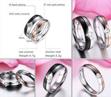 V Stripe Design CZ Diamond Couple Promise Rings