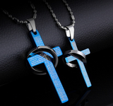 Cross Bible Lord Prayer Couple Pendant Necklaces