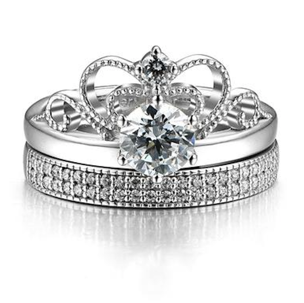 0770c45aff Vintage Princess's Cutout Crown Design Cubic Zirconia 925 Sterling Silver  Women's Ring Set