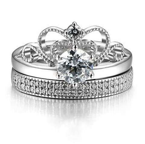 Vintage Princess's Cutout Crown Design Cubic Zirconia 925 Sterling Silver Women's Ring Set