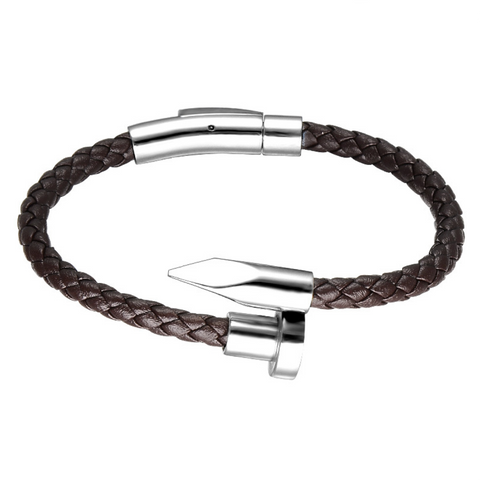 High Fashion Nail&Leather Silver Plated Bracelet(Brown)