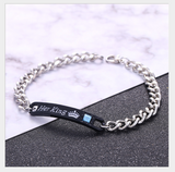 Personalized |His Queen| and |Her King| Titanium Couple Bracelets