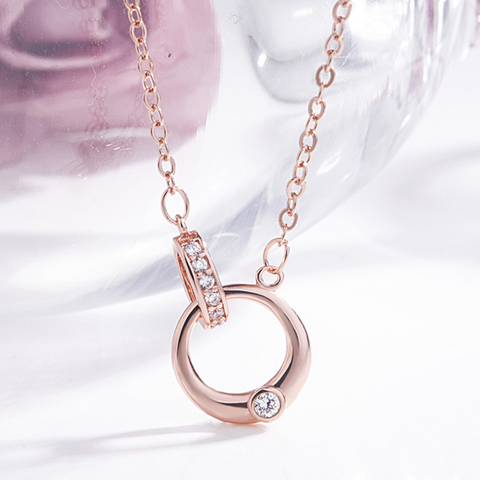 Fashion Zircon Double Ring Rose Gold Plated Necklace