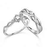 925 Sterling Silver Emulation Diamond Couple Rings(Adjustable Size)