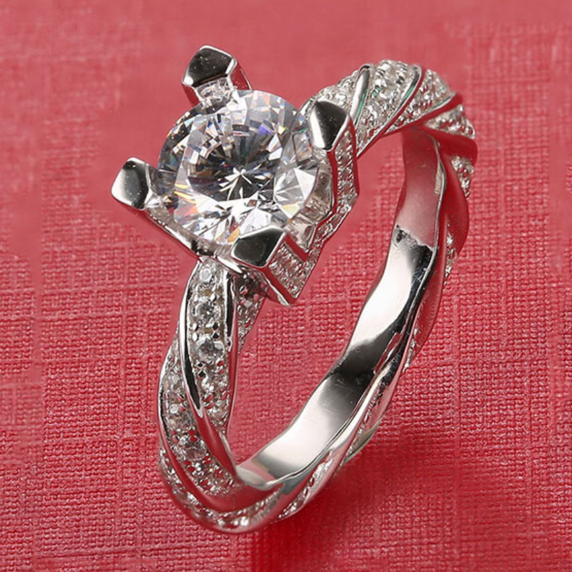 1 Carat Main Stone and 99 inlaid Zircon 925 Silver Engagement Ring