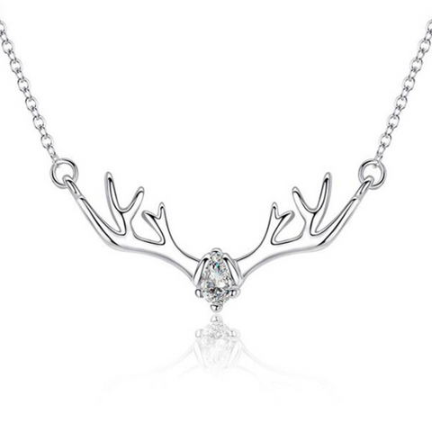 Elk Deer Antler 925 Sterling Silver Zircon Pendant Necklace Jewelry for Women