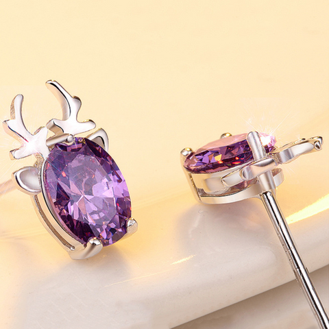 Antler Purple Zircon 925 Sterling Silver Ear Sud Earrings