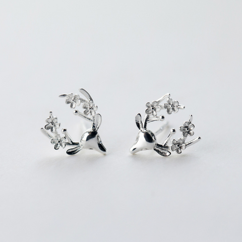 Flower in Antler 925 Sterling Silver Ear Sud Earrings