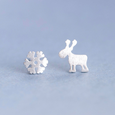 Christmas Snowflake & Elk 925 Sterling Silver Ear Sud Earrings