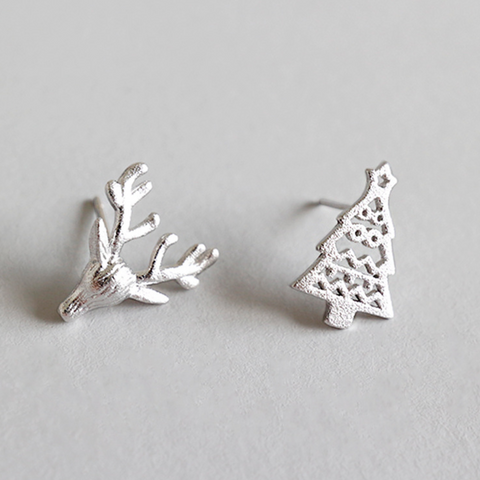 Hollow Christmas Tree and Elk Deer 925 Sterling Silver Ear Sud Earrings