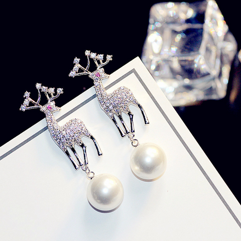 Luxury Christmas Elk Pearl Drop Earrings