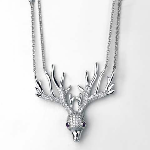 Fashion Zircon Deer Antler Pendent Necklace