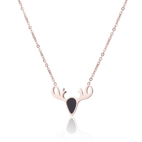 Christmas Deer Antler Titanium Steel Rose Gold Pendent Necklace