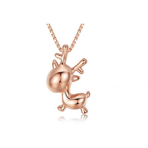 Cute Elk Rose Gold Plated Pendent Necklace