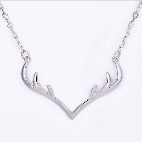 Simple Elk Deer Antler 925 Sterling Silver Pendent Necklace