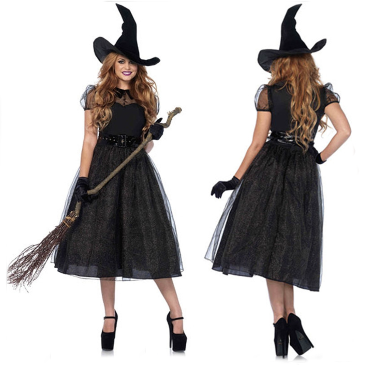 Wonderful Gothic Black Witch Halloween Costumes