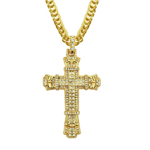 Jesus's Cross Zircon Inlaid Men's Pendent Necklace