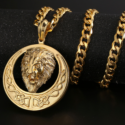Lion Shaped 18k Gold Plated Men's Pendent Necklace