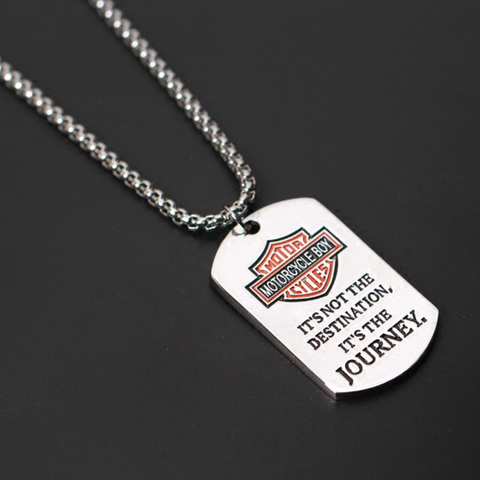 Motorcycle Boy Journey Titanium Steel Silver Necklace