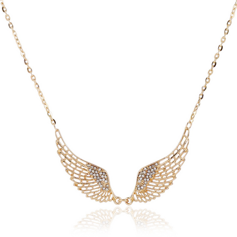 Angel wings with Zircon Decorated Pendent Necklace