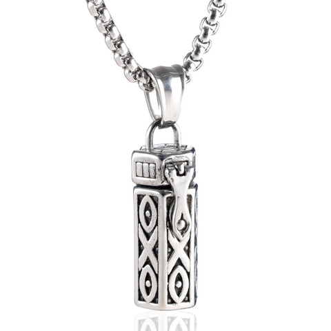 """Keep Company"" Cinerary Casket Titanium Pendent Necklace"