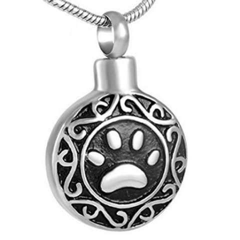 Dog Paw Pattern Cinerary Casket Titanium Pendent Necklace