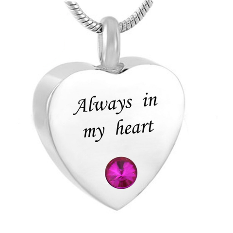"""Always In My Heart"" Titanium Cinerary Casket Pendent Necklace"