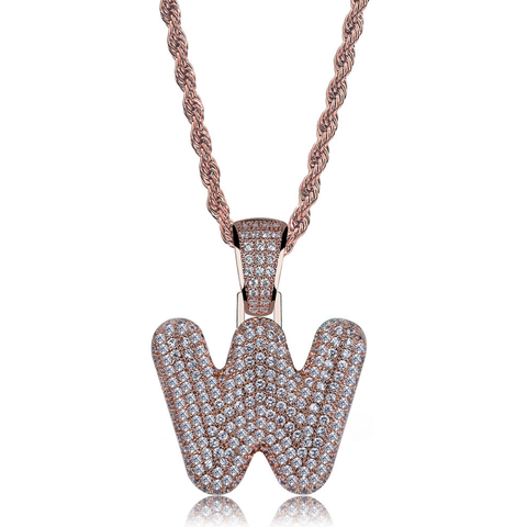 Super Bling A-Z Letter Zircon Inlaid Twist-link Chain Pendent Necklace